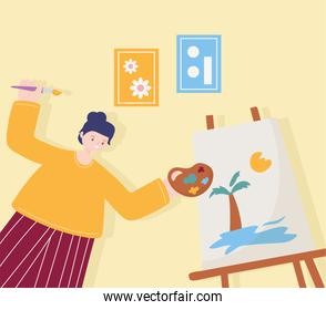 people activities, woman artist drawing on canvas holding palette color