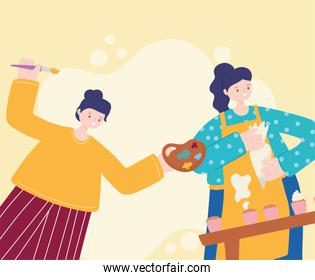 people activities, woman baking sweet cupcakes with cream and girl with artistic palette color and brush