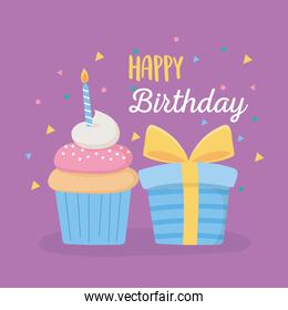 happy birthday, gift box sweet cupcake with candle celebration