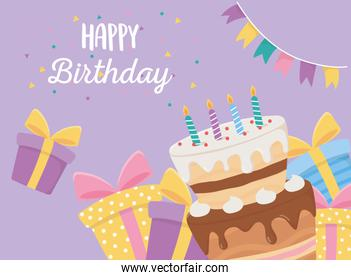 happy birthday, cake candles gift boxes and pennants confetti celebration