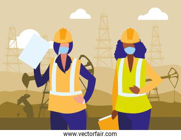 industrial worker women working with face mask