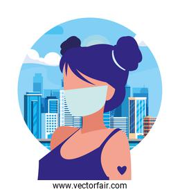 Woman in the city wearing face mask