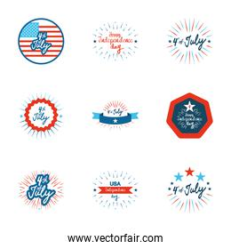 usa flags and 4th of july icon set, flat style