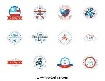 decorative stars and United Stated independence day icon set, flat design