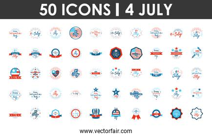 United Stated independence day icon set, flat design