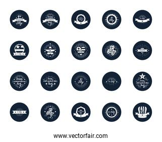 decorative seals and United Stated independence day icon set,  block silhouette  design