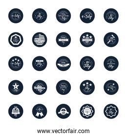 decorative seals and 4th of july icon set,  block silhouette  style