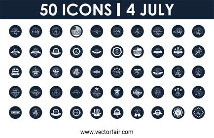 United Stated independence day icon set,  block silhouette  design