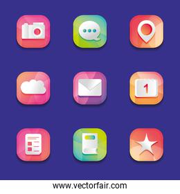 camera and mobile app buttons icon set,  detailed  design