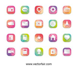 mobile app buttons icon set,  detailed  design