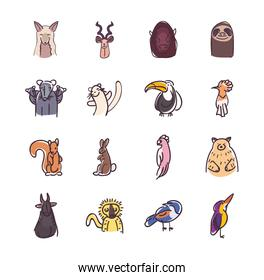Animals flat style icon set vector design