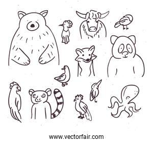 Wild Animals cartoons vector design