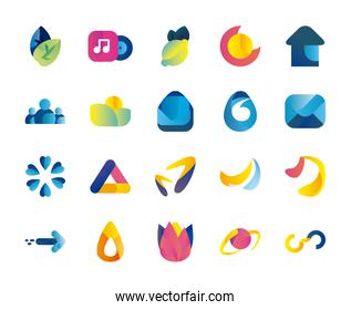 Abstract shapes gradient style icon set vector design