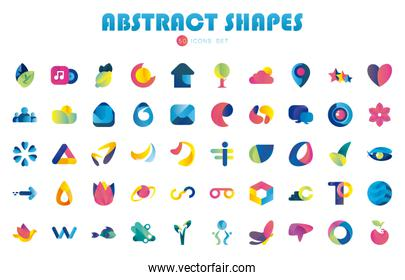 50 Abstract shapes gradient style icon set vector design