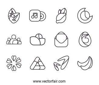 Abstract shapes line style icon set vector design