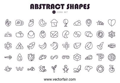 50 Abstract shapes line style icon set vector design