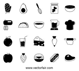 Food silhouette style icon set vector design
