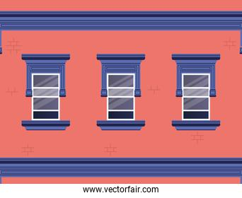 Windows outside pink and blue house vector design
