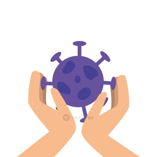 hand with particle covid 19 isolated icon