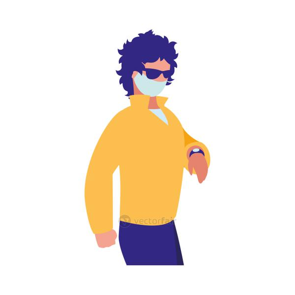 Man walking in the city wearing face mask