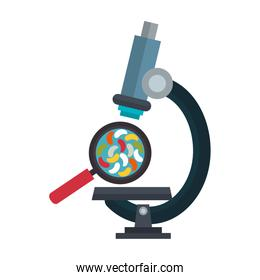 microscope laboratory with microorganisms and magnifying glass