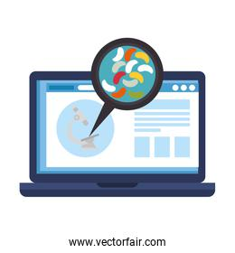 medicine online by laptop with test of microorganisms