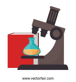 microscope laboratory with tube test and book