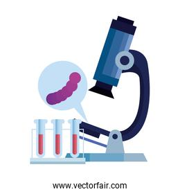 microscope with microorganism and tubes test