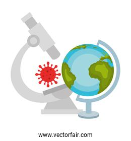 microscope with particle covid 19 and world planet