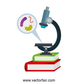 microscope with particle covid 19 and microorganisms on books
