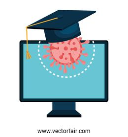 education online by computer with hat graduation and particle covid 19