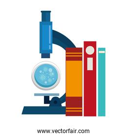 microscope with particles covid 19 and books
