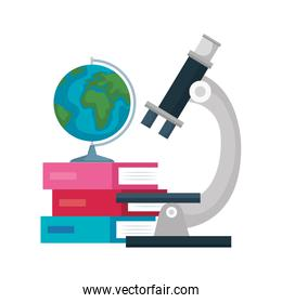 microscope with world planet and books