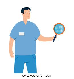 paramedic and magnifying glass with particles covid 19