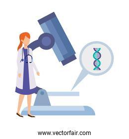 doctor female with microscope and dna structure