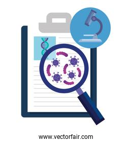 document with magnifying glass and medical icons