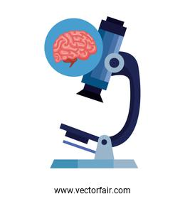 microscope with brain human isolated icon
