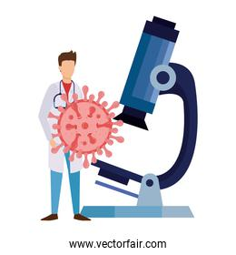 doctor with particle covid 19 and microscope