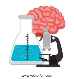 microscope with tube test and brain
