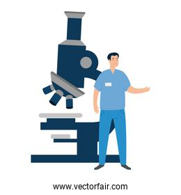 paramedic with microscope isolated icon