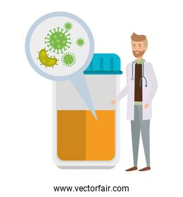 doctor with bottle and test of covid 19