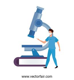 paramedic with microscope in book