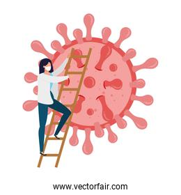doctor female with particle covid 19 isolated icon