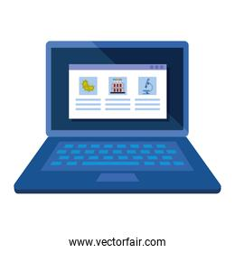 laptop with medicine online by test of covid 19