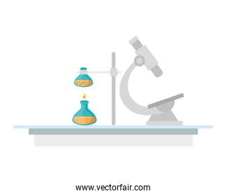 microscope and tubes test isolated icon