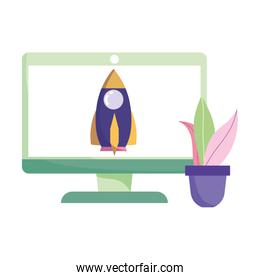 creativity and technology, computer rocket potted plant isolated design