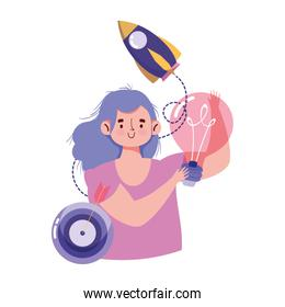 people creativity and technology,girl with bulb target and idea
