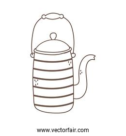 kettle maker coffee or tea isolated icon white background linear design