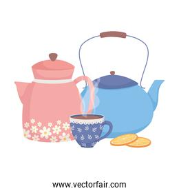 coffee time, kettles and cup sliced orange fresh aroma beverage