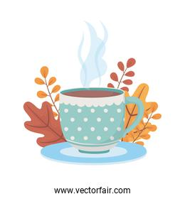 coffee time and tea, dotted cup on dish with decoration background